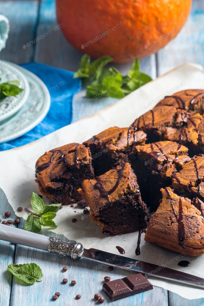 Kürbis- und Schokoladen-Swirbel-Brownies