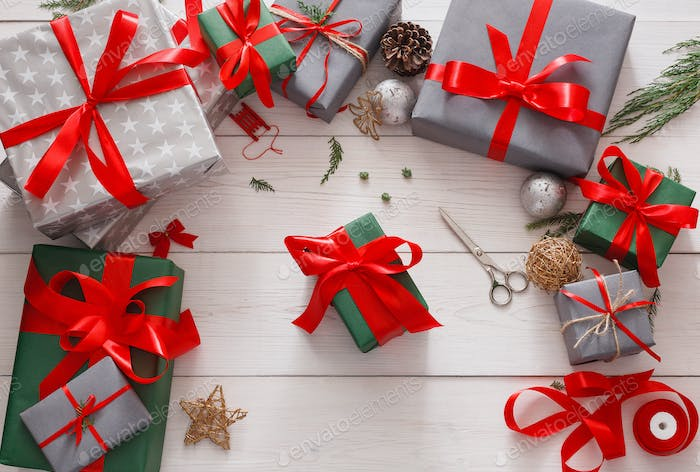 Thumbnail for Top view of christmas present boxes on white wood background