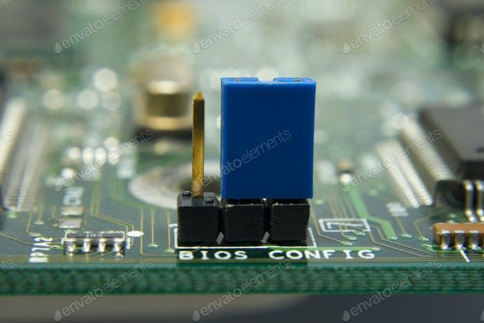 Computer motherboard circuit. Jumper BIOS config