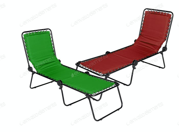 red and green lounger isolated on white