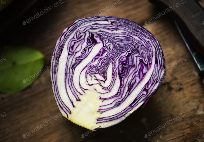 Closeup of fresh cut organic red cabbage