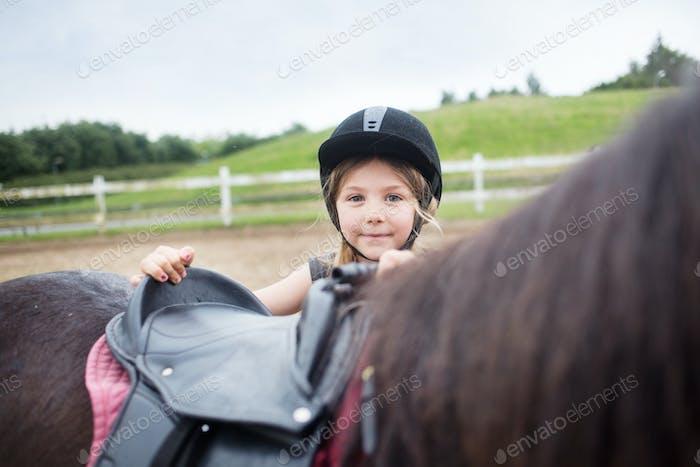 Portrait of girl (4-5) behind pony