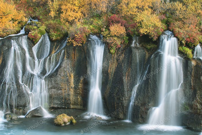 Hraunfossar waterfall in autumn