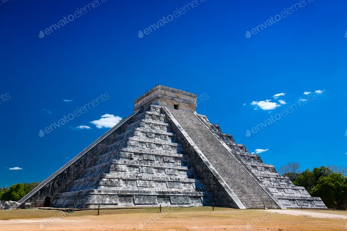 Chichen Itza under blue sky