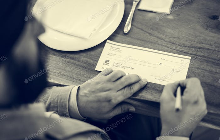 Business People Cheque Money Concept