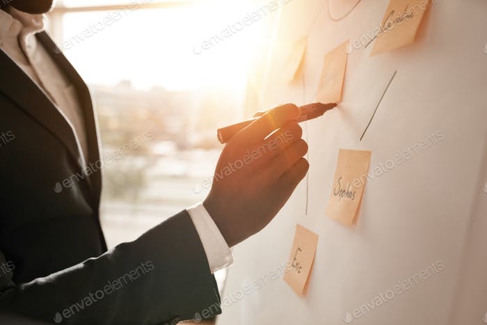 Businessman putting his ideas in white board