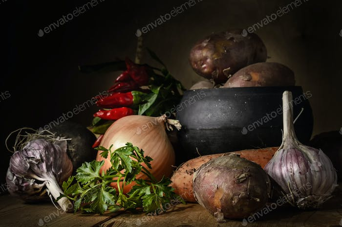 vegetables in a group