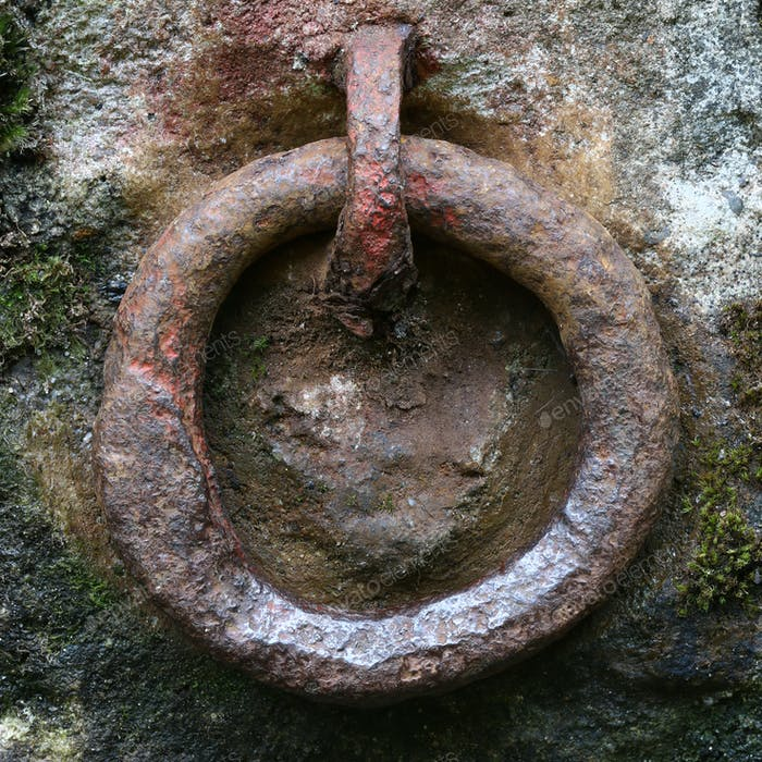 Old rusty iron ring for gripping