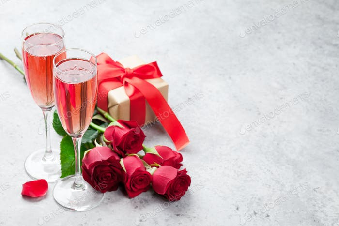 Valentinstag Grußkarte mit Champagner