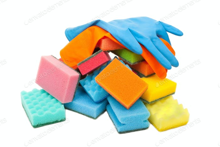 Rubber gloves and kitchen sponges