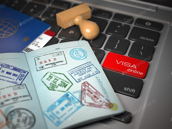 Visa online application concept. Open passport with visa stamps