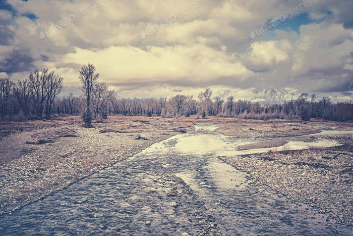 Vintage stylized Snake River in the Grand Teton National Park, U