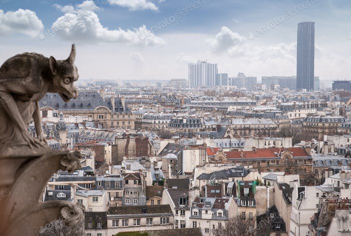 paris cathedral notre dame gorgoyle view cityscape