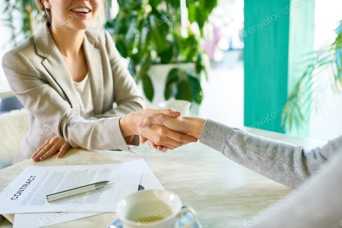 Successful Business Deal in Cafe