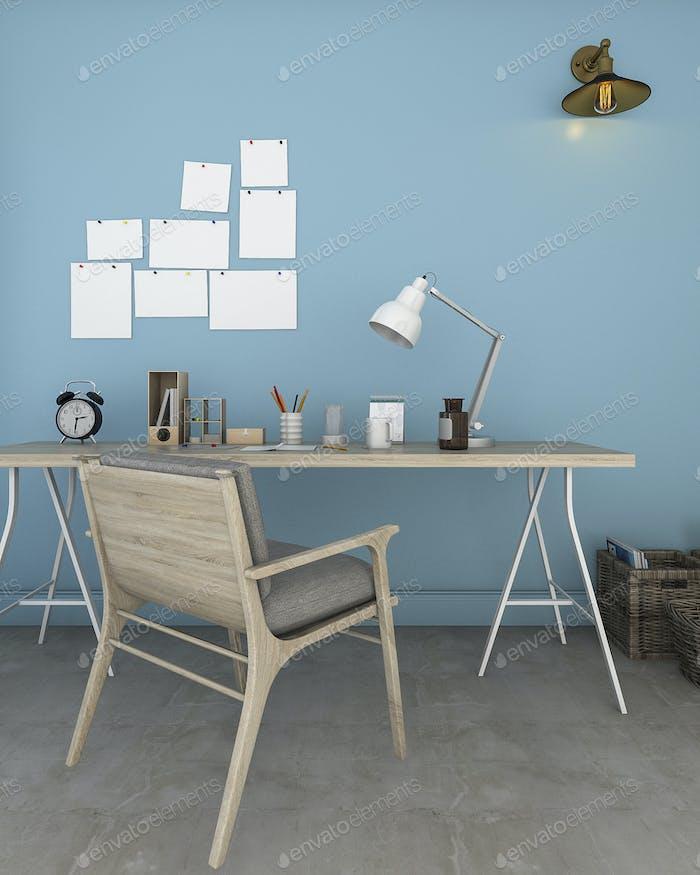 3D Rendering blaues Wohnzimmer mit Arbeitszone