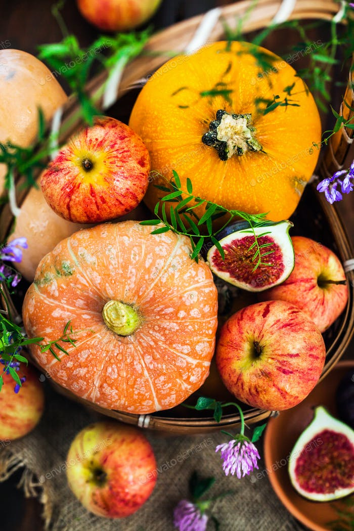 Autumnal colorful  pumpkins, apples and figs  on rustic backgrou