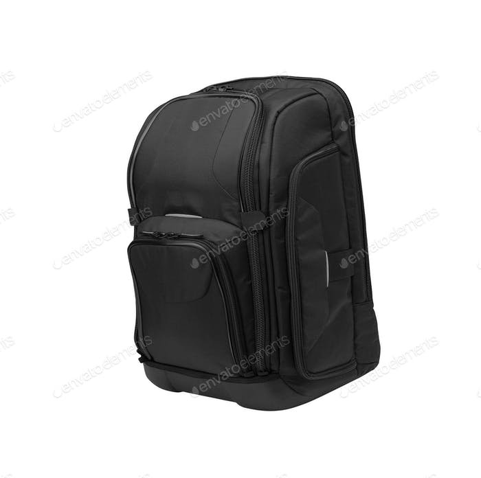 Small dark blue backpack on a white background