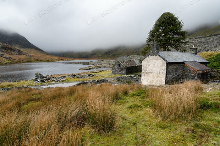 Abandoned cottages at Cwmorthin