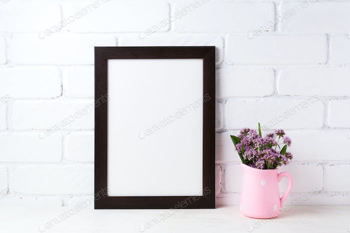 Black brown  frame mockup with purple flowers in polka dot pink