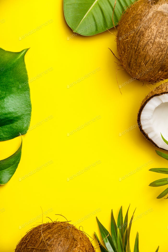 Coconuts and tropical leaves on yellow background,