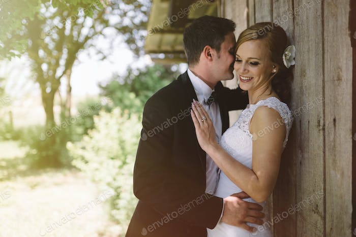 Beautiful bride and groom outdoors
