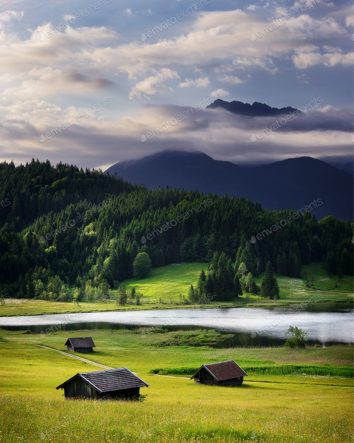 Cloudy summer morning at Bavarian Alps