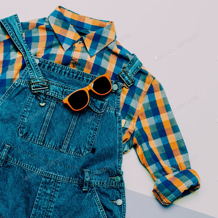Fashionable denim overalls. Stylish clothes. Minimal Country fas