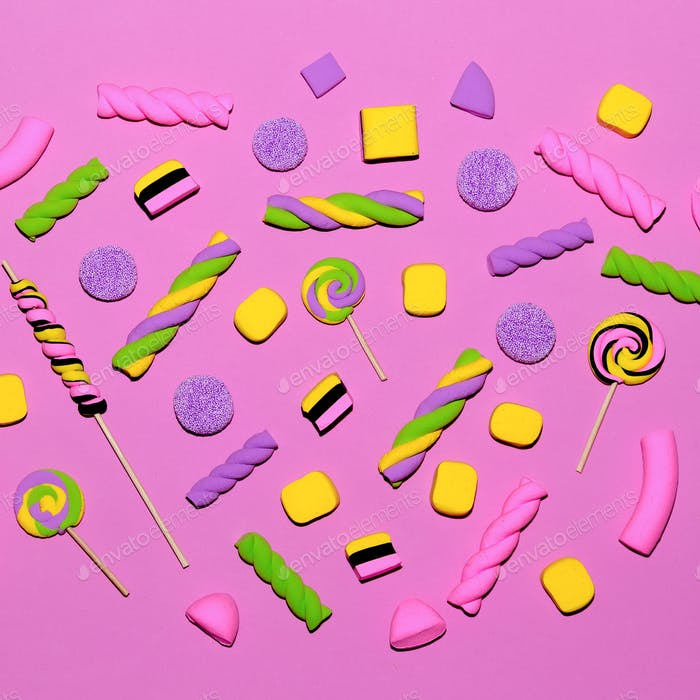 Marshmallow sweets background. Fashion Candy Mood Flatlay design