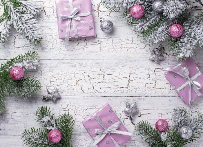 Christmas background with pink gift box
