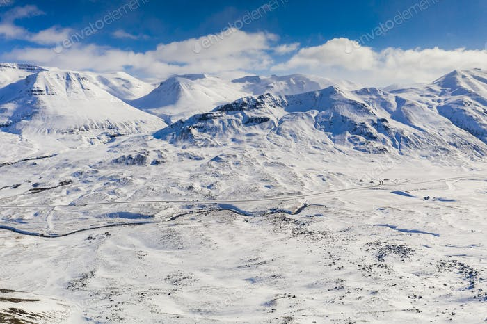 Beautiful mountain winter landscape near Akureyri, Iceland