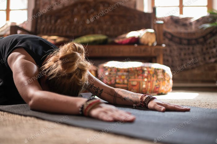 Woman doing yoga posture