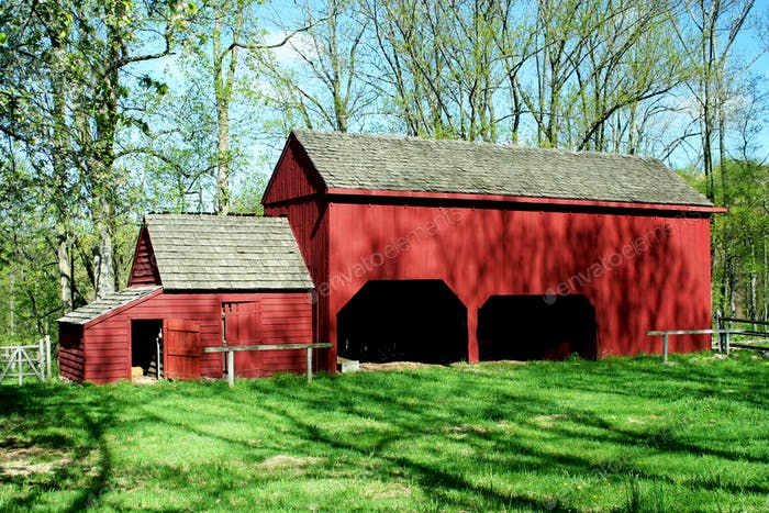 Old wooden red barn
