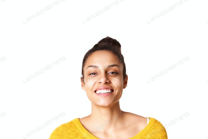 Beautiful young african young woman on white background