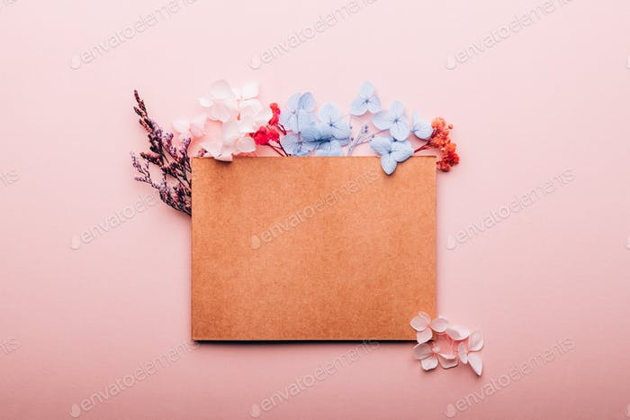 Card with copy space and real dried flowers