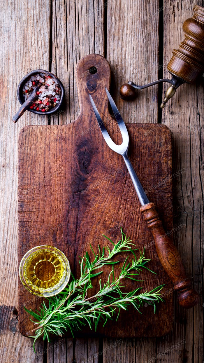 Empty Chopping cutting Board for Meat,  Rosemary oil and spices