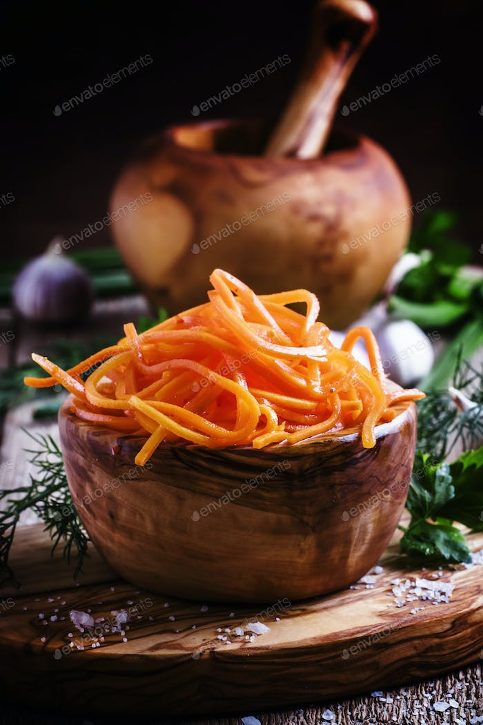 Salad from marinated carrots