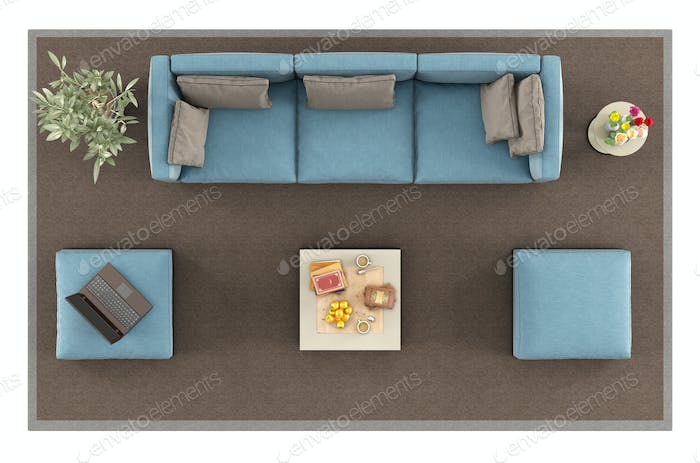 Top view of a modern blue sofa on carpet