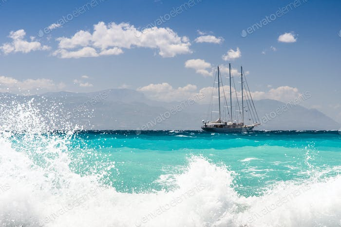 sailship cruising the seas, big waves
