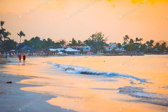 Amazing beautiful sunset on an exotic caribbean beach