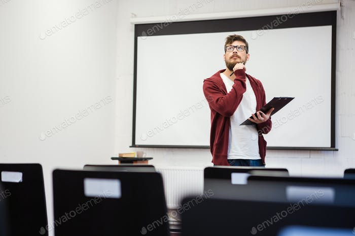 Young teacher preparing for the lecture