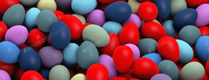 Easter preparation. Various colors eggs pile, texture background, banner. 3d illustration