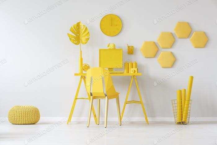 Honeycombs in yellow room interior