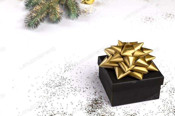 Gift Box on Festive White Background