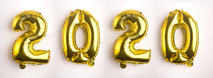 Golden Helium balloons with 2020 on white background