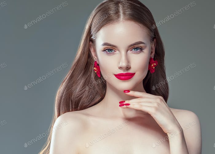 Red manicure and lipstick woman beauty portrait