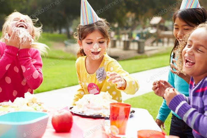 Group Of Girls Having Outdoor Birthday Party