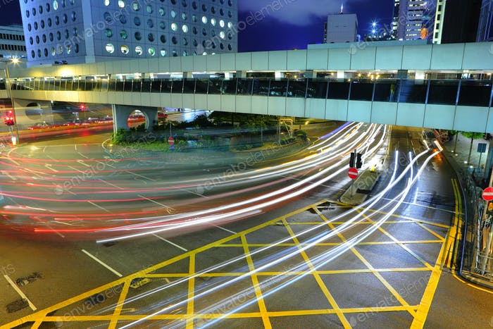 traffic at night in busy city