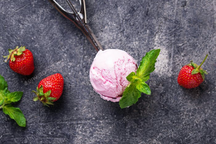 Ball of strawberry Ice cream in scoop