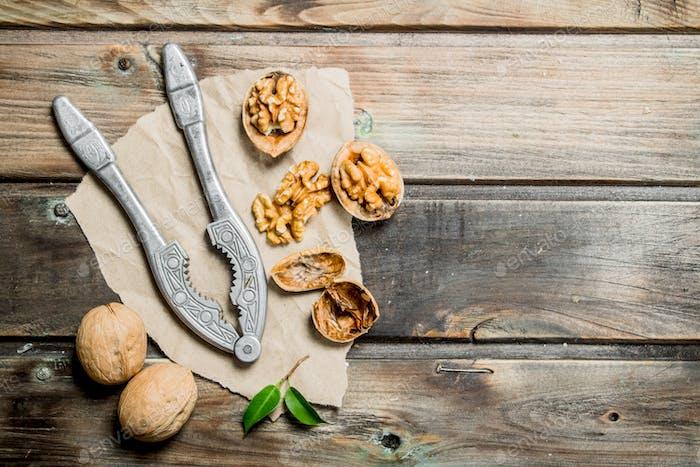 Shelled walnuts with a Nutcracker.