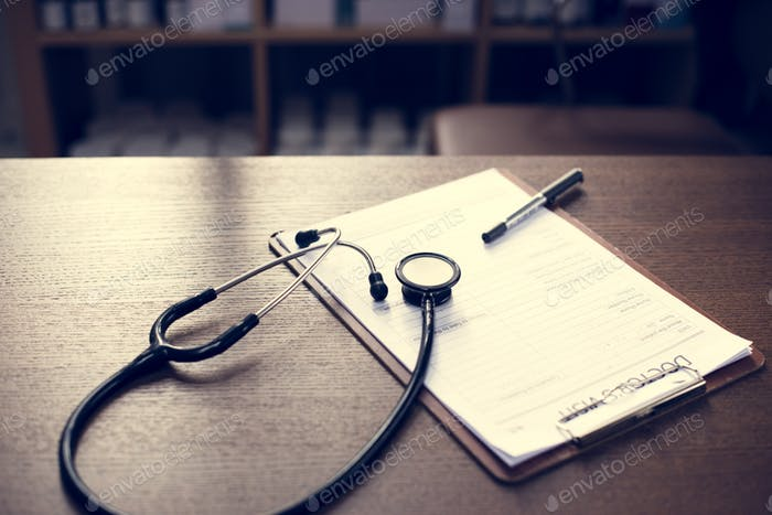 Checkup form and a stethoscope